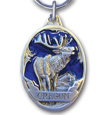 Key Ring - Oregon Elk Blue - This collector's key ring is finely detailed and features a Oregon Trout emblem.