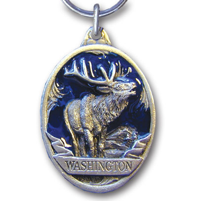 Key Ring - Washington Elk - This collector's key ring is finely detailed and features a Oregon Wolf emblem.