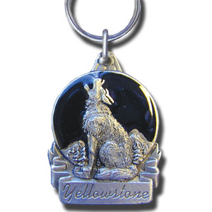 Key Ring - Yellowstone Wolf - This collector's key ring is finely detailed and features a Washington Wolf emblem.