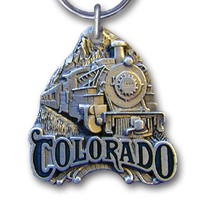 Key Ring - Colorado Train Locomotive - This collector's Colorado Train Locomotive key ring is finely detailed and features a Yellowstone Bison emblem.