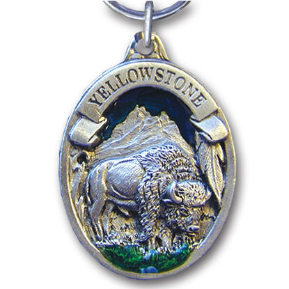 Key Ring - Yellowstone Bison - This collector's key ring is finely detailed and features a Yellowstone Elk emblem.