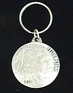 Key Ring - Yellowstone Indian Head Nickel - This collector's key ring is finely detailed and features a Yellowstone Wolf emblem.
