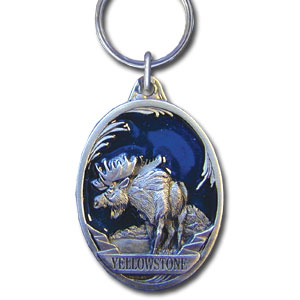 Key Ring - Yellowstone Moose - This collector's key ring is finely detailed and features a Yellowstone Wolf emblem.