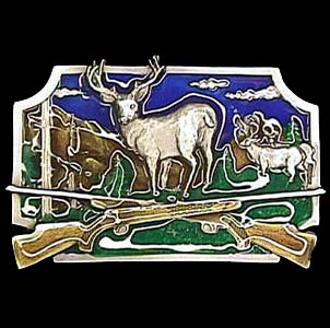 Belt Buckle - Deer Hunting  - This finely sculpted and enameled belt buckle contains exceptional 3D detailing. Siskiyou's unique buckle designs often become collector's items and are unequaled with the best in craftsmanship.