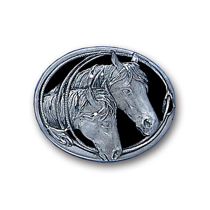 Belt Buckle - Horse Heads (Diamond Cut) Small - This finely sculpted belt buckle contains exceptional 3D detailing and diamond cut accents. Siskiyou's unique buckle designs often become collector's items and are unequaled with the best craftsmanship.