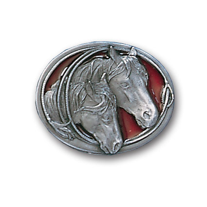 Belt Buckle - Two Horse Heads  - This finely sculpted and enameled belt buckle contains exceptional 3D detailing. Siskiyou's unique buckle designs often become collector's items and are unequaled with the best in craftsmanship.