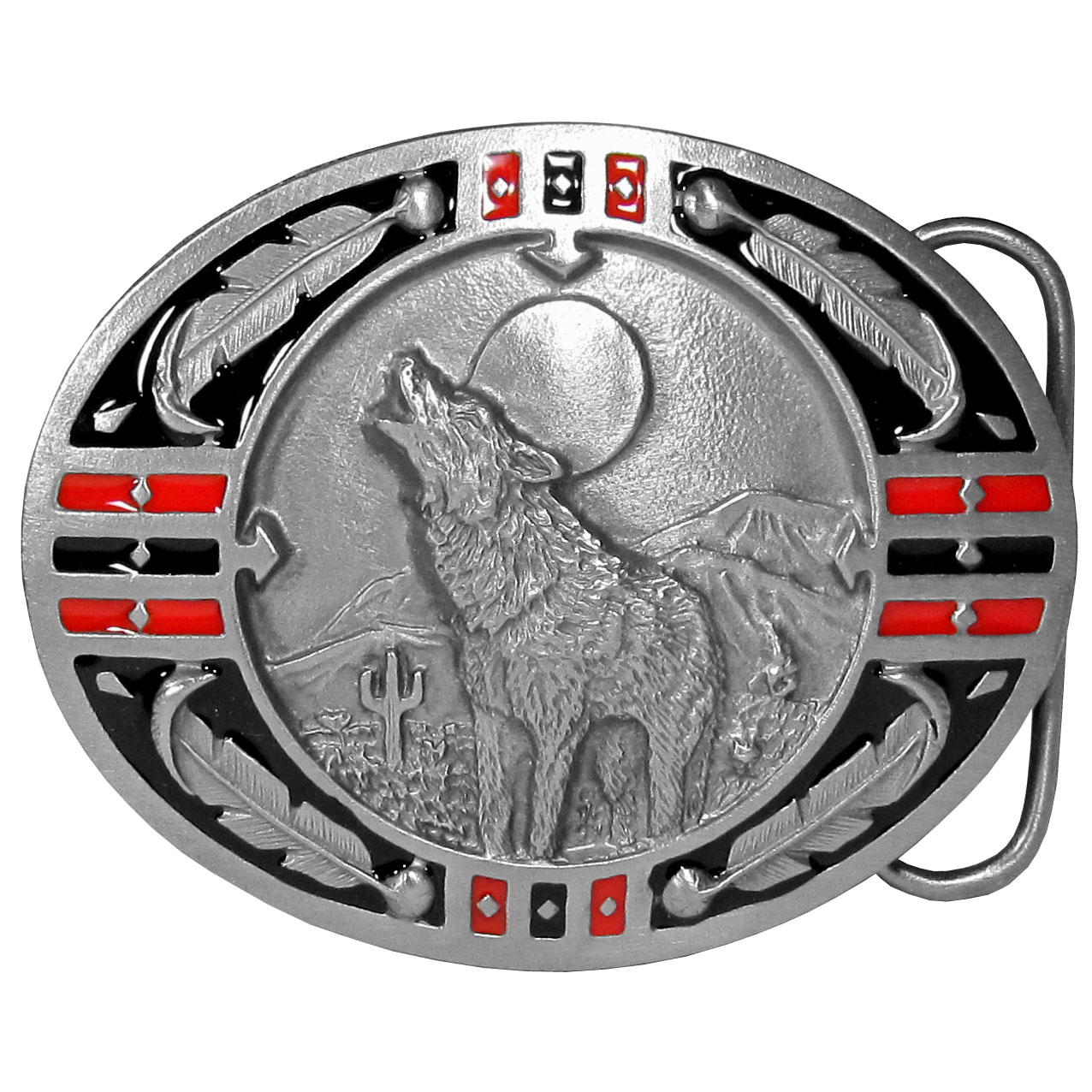 Wolf Enameled Belt Buckle - This finely sculpted and hand enameled belt buckle contains exceptional 3D detailing. Siskiyou's unique buckle designs often become collector's items and are unequaled with the best craftsmanship.