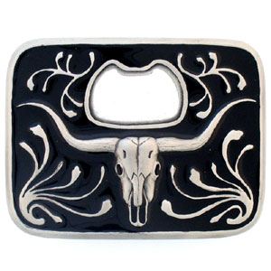 Bottle Opener Buckle - Buffalo Skull - This finely sculpted and enameled belt buckle contains exceptional 3D detailing. Siskiyou's unique buckle designs often become collector's items and are unequaled with the best in craftsmanship.