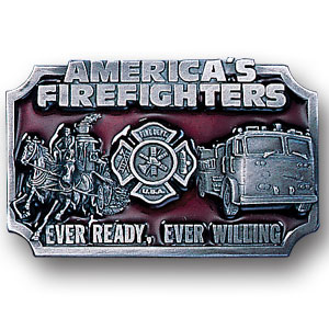 Belt Buckle - American Fire Fighters - This finely sculpted and enameled belt buckle contains exceptional 3D detailing. Siskiyou's unique buckle designs often become collector's items and are unequaled with the best in craftsmanship.