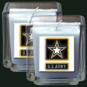 "Army 2pk Candle - Military Candle Set includes two 2"" x 2"" vanilla scented candles featuring a metal square with a hand enameled college emblem. Check out our extensive line of  gifts!"
