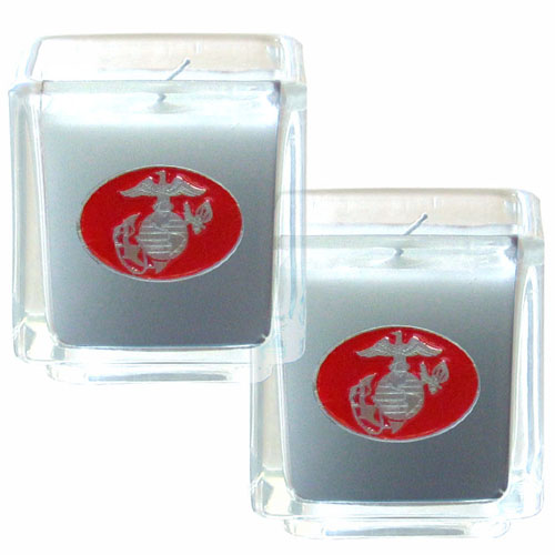 "Marines Candle Set - Military Candle Set includes two 2"" x 2"" vanilla scented candles featuring a metal square with a hand enameled college emblem. Check out our extensive line of  gifts!"
