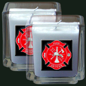 "Firefighter Candle Set - Firefighter Candle Set includes two 2"" x 2"" vanilla scented candles featuring a metal square with a hand enameled college emblem. Check out our extensive line of  firefighter gifts!"