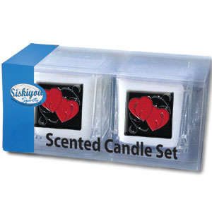 "Candle Set - Double Heart - Our Candle Set includes two 2"" x 2"" vanilla scented candles featuring a metal square with a hand enameled emblem. Check out our extensive line of  gifts!"