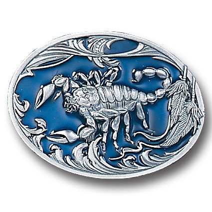 Belt Buckle - Scorpion w/leaves - This finely sculpted and enameled belt buckle contains exceptional 3D detailing. Siskiyou's unique buckle designs often become collector's items and are unequaled with the best in craftsmanship.