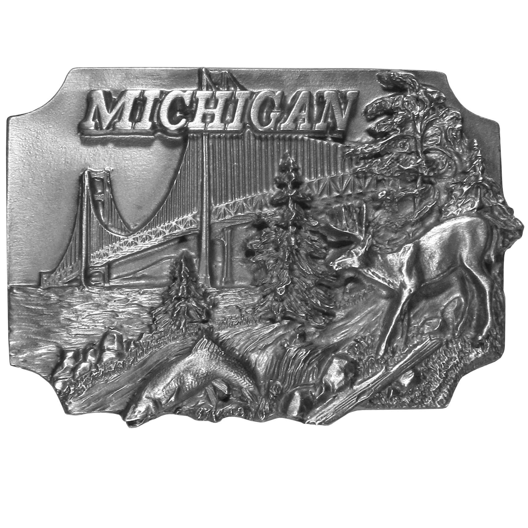 "Michigan Antiqued Belt Buckle - ""This belt buckle celebrates Michigan!  """"Michigan"""" is written in bold on the top with the Mackinac Bridge, a deer, a fish jumping from a river and trees.  On the back are the words, """"Michigan became the 26th state on January 28, 1837.  The state tree is the White Pine, the state flower is the Apple Blossom and the state bird is the Robin."""""""