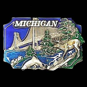 Belt Buckle - Michigan  - This finely sculpted and enameled belt buckle contains exceptional 3D detailing. Siskiyou's unique buckle designs often become collector's items and are unequaled with the best in craftsmanship.