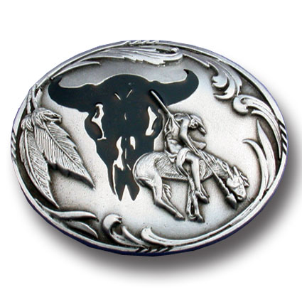 Belt Buckle - End of the Trail - This finely sculpted and enameled belt buckle contains exceptional 3D detailing. Siskiyou's unique buckle designs often become collector's items and are unequaled with the best in craftsmanship.