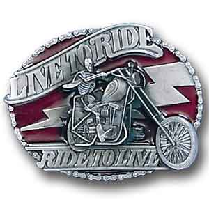 "Live to Ride ""Skeleton on Bike"" - This finely sculpted and enameled belt buckle contains exceptional 3D detailing. Siskiyou's unique buckle designs often become collector's items and are unequaled with the best in craftsmanship."