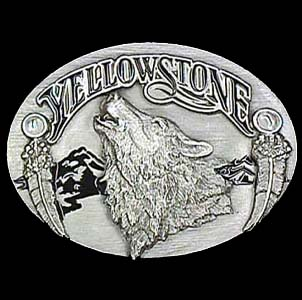 Belt Buckle - Yellowstone Wolf  - This finely sculpted and enameled belt buckle contains exceptional 3D detailing. Siskiyou's unique buckle designs often become collector's items and are unequaled with the best in craftsmanship.