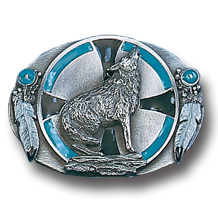 Belt Buckle - Southwest Wolf - This finely sculpted and enameled belt buckle contains exceptional 3D detailing. Siskiyou's unique buckle designs often become collector's items and are unequaled with the best in craftsmanship.