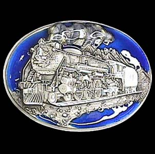 Belt Buckle - Locomotive Train  - This finely sculpted and enameled Locomotive Train belt buckle contains exceptional 3D detailing. Siskiyou's unique buckle designs often become collector's items and are unequaled with the best in craftsmanship.