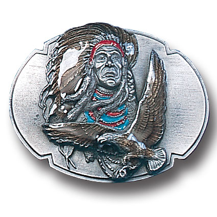 Belt Buckle - Indian Chief & Eagle  - This finely sculpted and enameled belt buckle contains exceptional 3D detailing. Siskiyou's unique buckle designs often become collector's items and are unequaled with the best in craftsmanship.