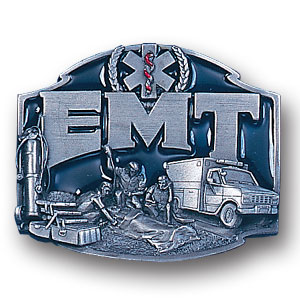 Belt Buckle - EMT - This finely sculpted and enameled belt buckle contains exceptional 3D detailing. Siskiyou's unique buckle designs often become collector's items and are unequaled with the best in craftsmanship.