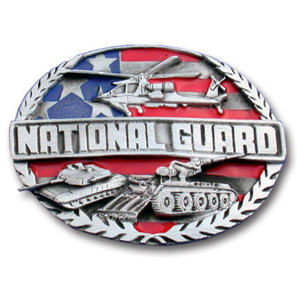 Belt Buckle - National Guard - This finely sculpted and enameled belt buckle contains exceptional 3D detailing. Siskiyou's unique buckle designs often become collector's items and are unequaled with the best in craftsmanship.