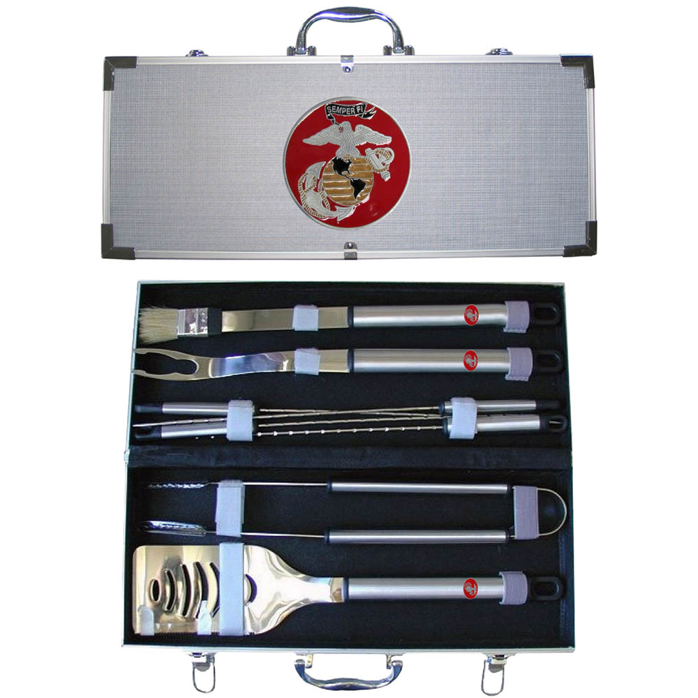"""Marines """"Semper Fi"""" 8 pc BBQ Set w/Case"" - ""Our 8 pc BBQ set includes a spatula with knife edge, grill fork, tongs, basting bursh and 4 skewers. The tools are approximately 19"""" long and have sturdy stainless steel handles. The aluminum carrying case features a metal carved emblem with enameled finish."""