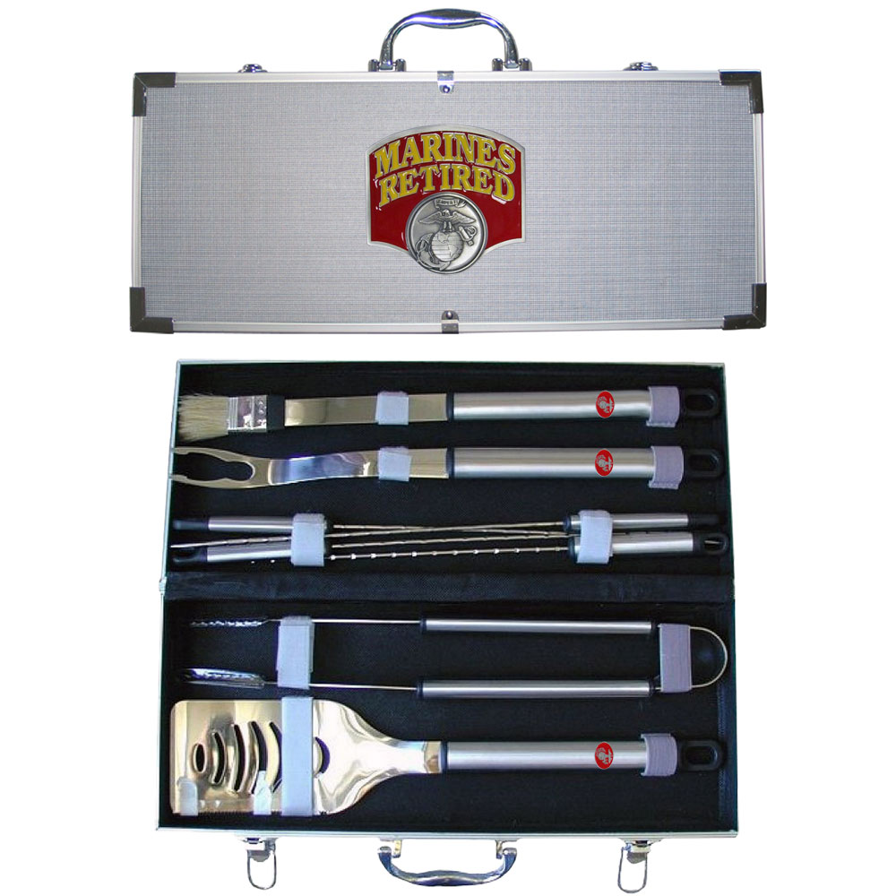 "Marines Retired 8 pc BBQ Set w/Case - ""Our 8 pc BBQ set includes a spatula with knife edge, grill fork, tongs, basting bursh and 4 skewers. The tools are approximately 19"""" long and have sturdy stainless steel handles. The aluminum carrying case features a metal carved emblem with enameled finish."""