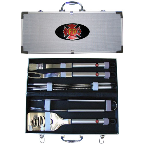 "Firefighter 8 pc BBQ Set - Our 8 pc BBQ set includes a spatula with knife edge, grill fork, tongs, basting bursh and 4 skewers. The tools are approximately 19"" long and have sturdy stainless steel handles. The aluminum carrying case features a metal carved emblem with enameled finish."