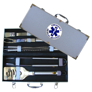 "EMS 8 pc BBQ Set - Our 8 pc BBQ set includes a spatula with knife edge, grill fork, tongs, basting bursh and 4 skewers. The tools are approximately 19"" long and have sturdy stainless steel handles. The aluminum carrying case features a metal carved emblem with enameled finish."