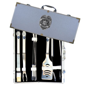 "Police 8 pc BBQ Set - Our 8 pc BBQ set includes a spatula with knife edge, grill fork, tongs, basting bursh and 4 skewers. The tools are approximately 19"" long and have sturdy stainless steel handles. The aluminum carrying case features a metal carved emblem with enameled finish."