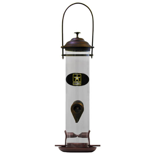 "Army Bird Feeder - ""Our  bird feeder is 18"""" tall and has a 5"""" diameter catcher tray and holds 24 ounces of feed. Easy to clean and fill. The feeder features a fully cast and enameled Army emblem."""