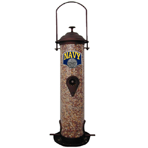 "Navy Bird Feeder - Our bird feeder is 18"" tall and has a 5"" diameter catcher tray. The feeder features a metal emblem with enameled finish."