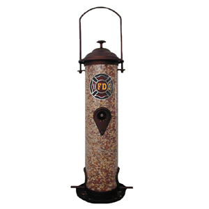 "Firefighter Bird Feeder - Our bird feeder is 18"" tall and has a 5"" diameter catcher tray. The feeder features a metal emblem with enameled finish."