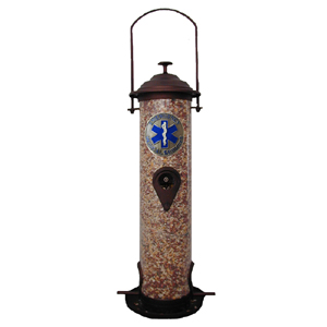 "EMS Bird Feeder - Our bird feeder is 18"" tall and has a 5"" diameter catcher tray. The feeder features a metal emblem with enameled finish."