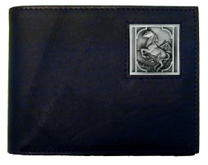 Bi-fold Wallet - Rearing Horse - Our bi-fold wallet is made of high quality fine grain leather with a Rearing Horse emblem sculpted with fine detail on the front panel. Includes slots for credit and business cards and clear plastic photo sleeves.