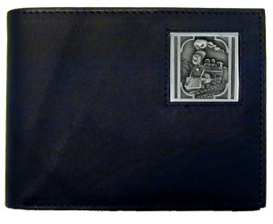 Bi-fold Wallet - Colorado Train Locomotive - This Colorado Train Locomotive bi-fold wallet is made of high quality fine grain leather with a historic Train emblem sculpted with fine detail on the front panel. Includes slots for credit and business cards and clear plastic photo sleeves.