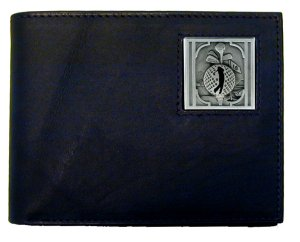 Golf Bi-fold Wallet - Golfer  - Our Golf bi-fold wallet is made of high quality fine grain leather with a Golfer emblem sculpted with fine detail on the front panel. Includes slots for credit and business cards and clear plastic photo sleeves.This Golf bi-fold wallet is a great product for that golf expert or golf fan ! Check out all our other great NFL, NCAA, MLB ,NHL product line up. Thank you for shopping Crazed Out Sports!!