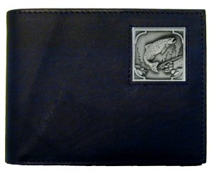 Bi-fold Wallet - Salmon - Our bi-fold wallet is made of high quality fine grain leather with a Salmon emblem sculpted with fine detail on the front panel. Includes slots for credit and business cards and clear plastic photo sleeves.
