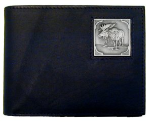Bi-fold Wallet - Moose - Our bi-fold wallet is made of high quality fine grain leather with a Moose emblem sculpted with fine detail on the front panel. Includes slots for credit and business cards and clear plastic photo sleeves.