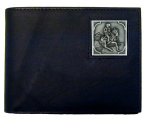 Bi-fold Wallet - Cowboy on Horse - Our bi-fold wallet is made of high quality fine grain leather with a Cowboy on Horse emblem sculpted with fine detail on the front panel. Includes slots for credit and business cards and clear plastic photo sleeves.
