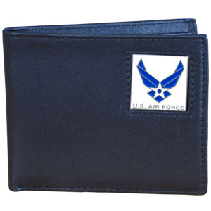 Bi-fold Wallet - Air Force - Our bi-fold wallet is made of high quality fine grain leather with an armed forces emblem sculpted with fine detail on the front panel. Includes slots for credit and business cards and clear plastic photo sleeves.