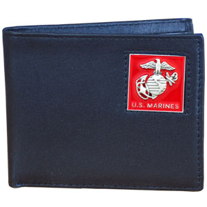 Bi-fold Wallet - Marines - Our bi-fold wallet is made of high quality fine grain leather with an armed forces emblem sculpted with fine detail on the front panel. Includes slots for credit and business cards and clear plastic photo sleeves.