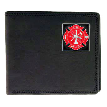 Bi-fold Wallet - Fire Fighter - Our bi-fold wallet is made of high quality fine grain leather with a fire fighter  emblem sculpted with fine detail on the front panel. Includes slots for credit and business cards and clear plastic photo sleeves.