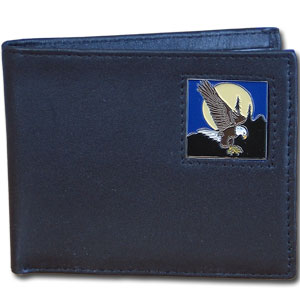 Bi-fold Wallet - Flying Eagle - Our bi-fold wallet is made of high quality fine grain leather with a fire fighter  emblem sculpted with fine detail on the front panel. Includes slots for credit and business cards and clear plastic photo sleeves.
