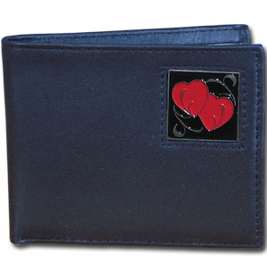 Bi-fold Wallet - Double Heart - Our bi-fold wallet is made of high quality fine grain leather with a fire fighter  emblem sculpted with fine detail on the front panel. Includes slots for credit and business cards and clear plastic photo sleeves.