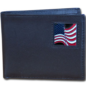 Bi-fold Wallet - American Flag - Our bi-fold wallet is made of high quality fine grain leather with a fire fighter  emblem sculpted with fine detail on the front panel. Includes slots for credit and business cards and clear plastic photo sleeves.