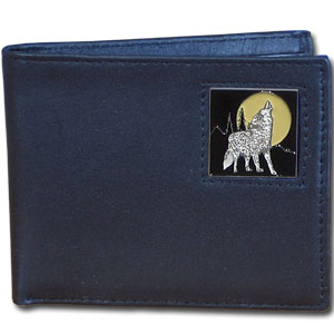 Bi-fold Wallet - Howling Wolf - Our bi-fold wallet is made of high quality fine grain leather with a fire fighter  emblem sculpted with fine detail on the front panel. Includes slots for credit and business cards and clear plastic photo sleeves.